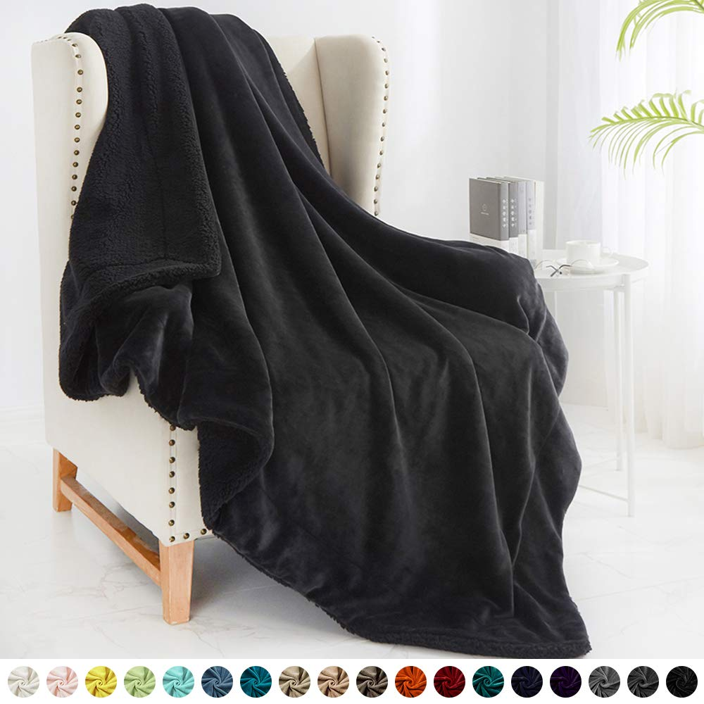 """Walensee Sherpa Fleece Blanket (Twin Size 60""""x80"""" Black) Plush Throw Fuzzy Super Soft Reversible Microfiber Flannel Blankets for Couch, Bed, Sofa Ultra Luxurious Warm and Cozy for All Seasons"""
