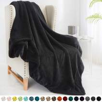 """Walensee Sherpa Fleece Blanket (Throw Size 50""""x60"""" Black) Plush Throw Fuzzy Super Soft Reversible Microfiber Flannel Blankets for Couch, Bed, Sofa Ultra Luxurious Warm and Cozy for All Seasons"""