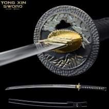 YONG XIN SWORD-Samurai Katana Sword, Japanese Handmade, Practical, 1045 Carbon Steel, Tempered/Clay Tempered, Full Tang, Sharp, Scabbard