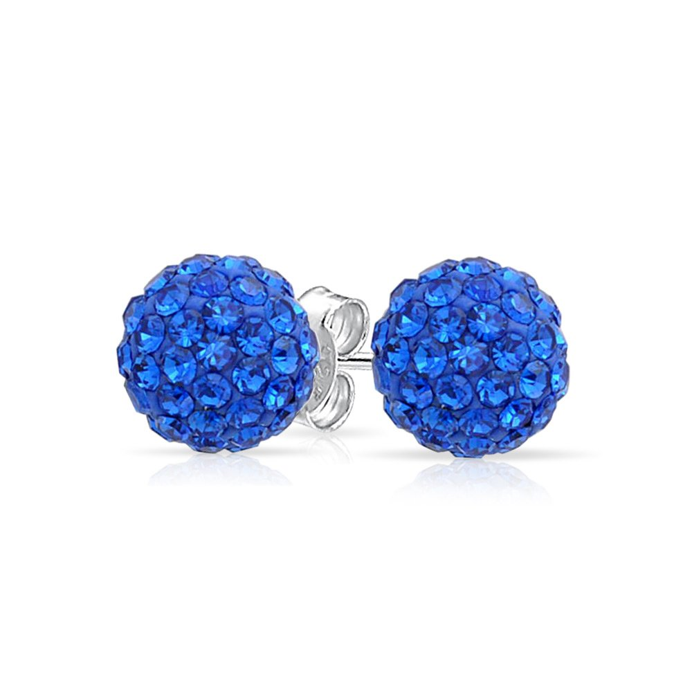 Round Simple Basic Pave Sparkle Crystal Fireball Disco Ball Stud Earrings For Women Teen Sterling Silver More Colors 8MM