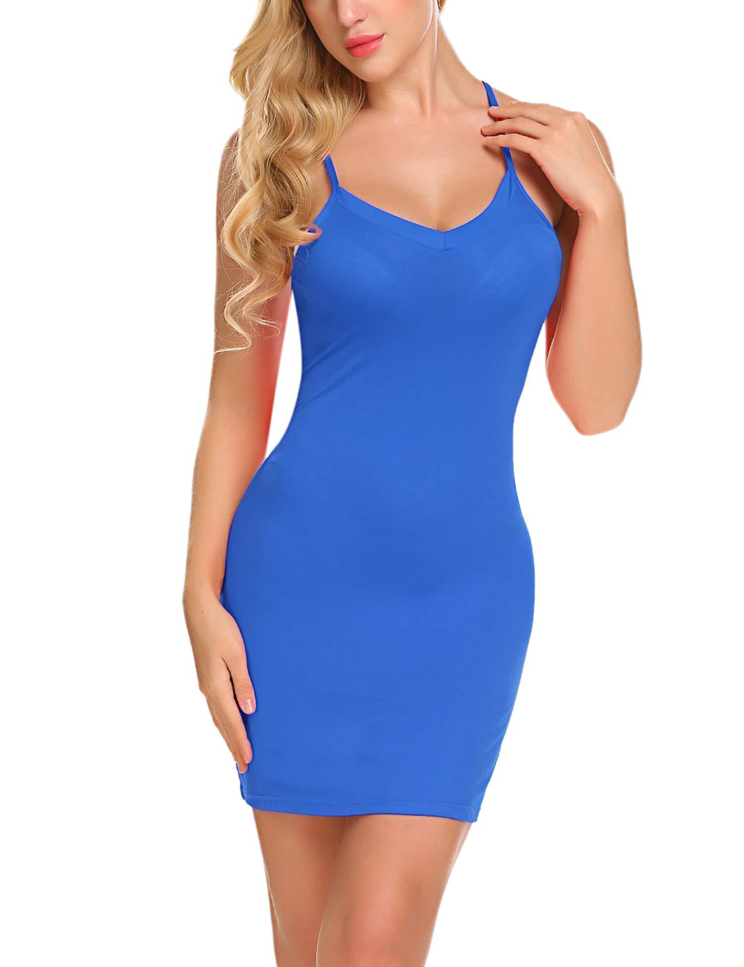 Avidlove Women's Full Slip Adjustable Spaghetti Strap Camisole Mini Dress Casual Deep V Nightgown