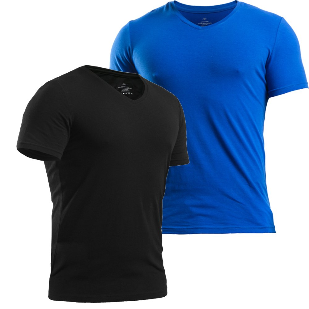 Muscle Alive Mens T Shirts Slim Fit V-Neck Soft Cotton Short Sleeve Athletic Muscle T-Shirt