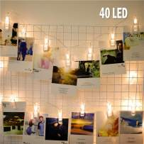40 Led String Lights with Photo Clips Battery Operated Indoor Outdoor Decorative Lights for Bedroom,Patio,Dorm Room,Wedding,Birthday,Christmas Party Home Decor battery Lights for Hanging Cards and Art