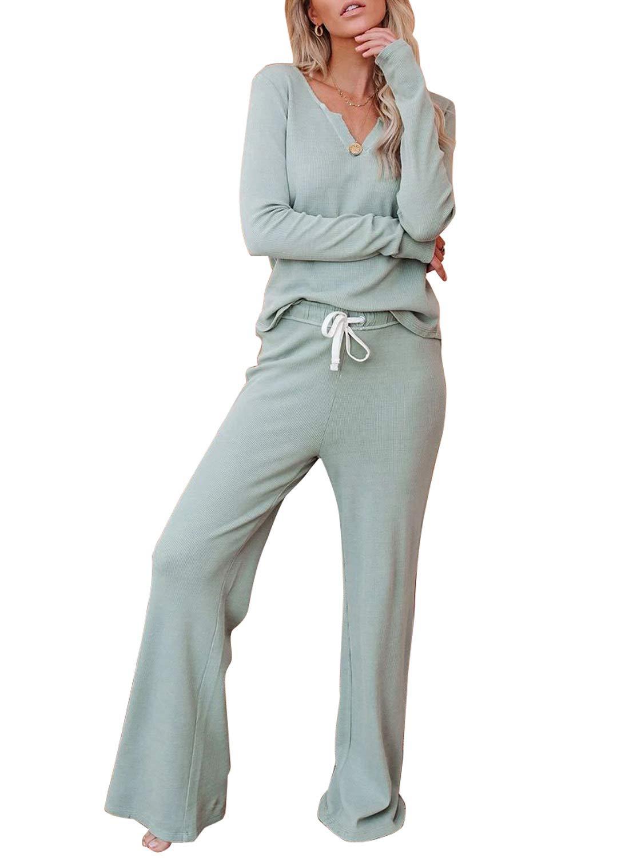 Happy Sailed Women V Neck Pajamas Set Long Sleeve Tops and Pants PJ Set Loungewear Nightwear Sleepwear