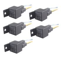 ESUPPORT Car Relay 12V 40A SPST 4Pin Switch Socket Plug Wire Harness Automotive Pack of 5