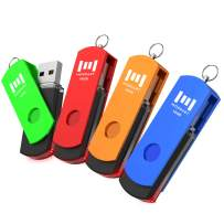 16GB 4 Pack of USB 2.0 Flash Drive, A Set of 16 GB 360° Rotation USB Flash Drive with LED Light, 16g Multipack Jump Drive with Keychain for Computer Storage by MOSDART (Multicolor)