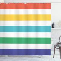 """Ambesonne Striped Shower Curtain, Rainbow Colored and White Fun Horizontal Lines Kids Room Red Yellow Blue Green Art, Cloth Fabric Bathroom Decor Set with Hooks, 75"""" Long, Rainbow Colors"""