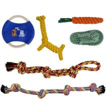 GOOD MOTHER Dog Rope Toys for Aggressive Chewers Durable Large Floss Rope Toy for Dogs Dental Health Set of 6 100% Cotton Rope Toys for Dog - Puppy Chew Dog Rope Toy Assortment for Medium Large Breeds