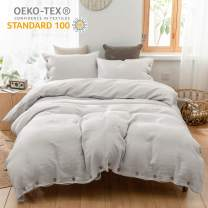 Simple&Opulence 100% Linen Duvet Cover Set with Coconut Button Closure Stone Washed - 2 Pieces (1 Duvet Cover & 1 Pillowcase) Soft Breathable Farmhouse - Light Grey, Twin Size