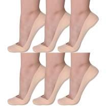 Flammi Women's 6 Pairs No Show Socks for Flats Heels Ultra Low Cut Liner Socks w/Heel Grip Non Slip Cotton Nylon