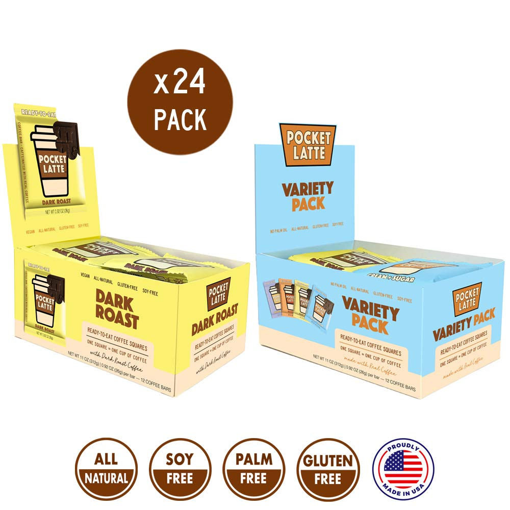 """Pocket Latte, 24 PACK (Variety pack PLUS """"Dark Roast"""" pack). Strong Coffee Flavor. One Bar = One Coffee. All-Natural Caffeine Snack, gluten-free and soy-free ingredients."""