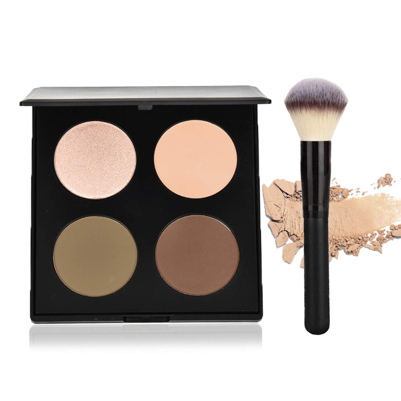 CCbeauty Illuminator Face Highlighter Makeup Palette with Powder Brush Shimmer Powder Contour Palette Bronzers & Eyeshadow Kit, Dazzling Pearl
