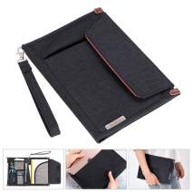 BTSKY Portfolio File Folder A5 Documents Bag Files Organizer Business Card Holder Stationery Bag Book & Bible Cover Briefcase Waterproof with Removal Handle Strap Easy to Carry Black