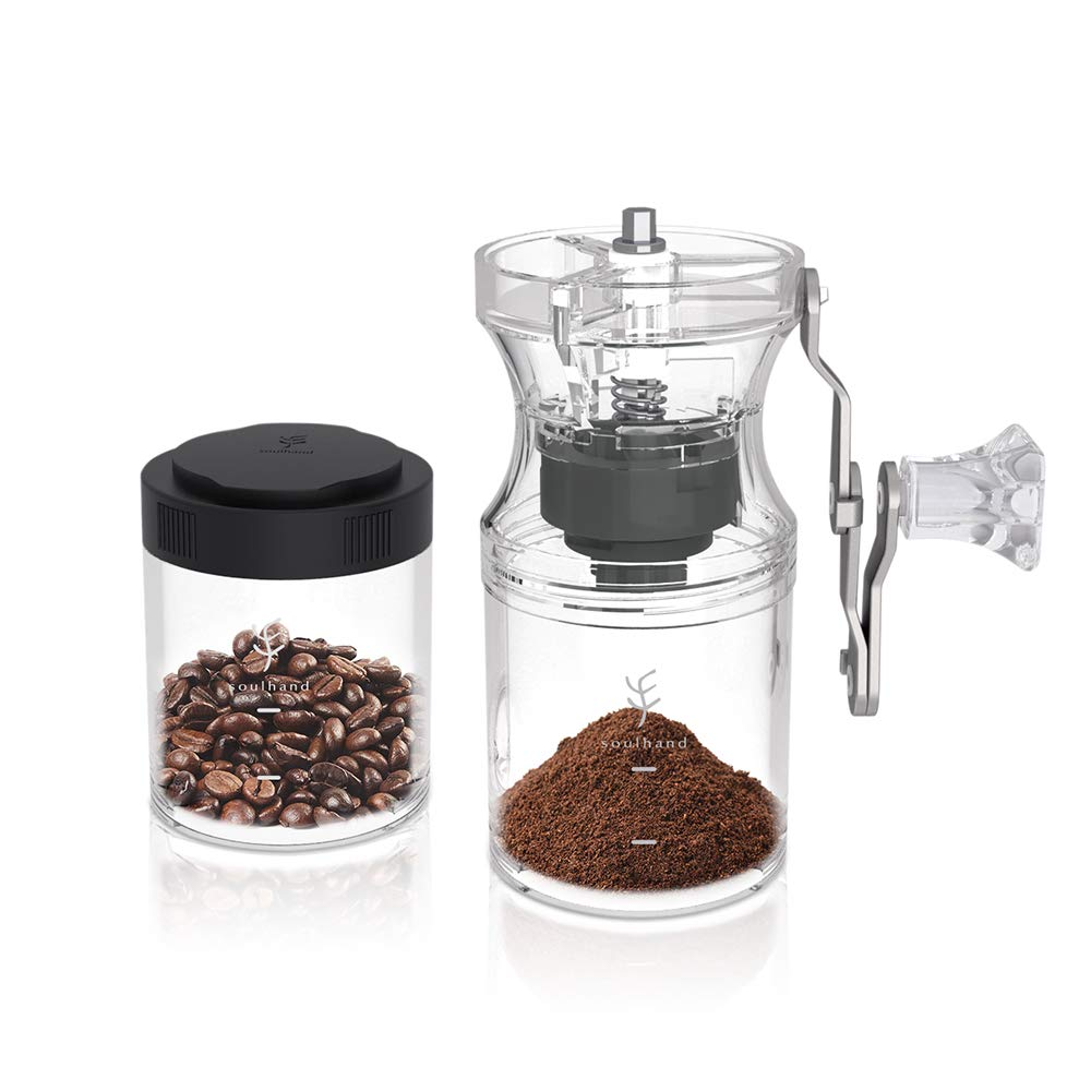 Soulhand Manual Coffee Grinder Hand Coffee Grinder Conical Burr Mill With Adjustable Setting Extra Coffee Jars and Lengthen Handle Burr Coffee Grinder for Aeropress, Drip Coffee, Espresso, French Press, Turkish Brew
