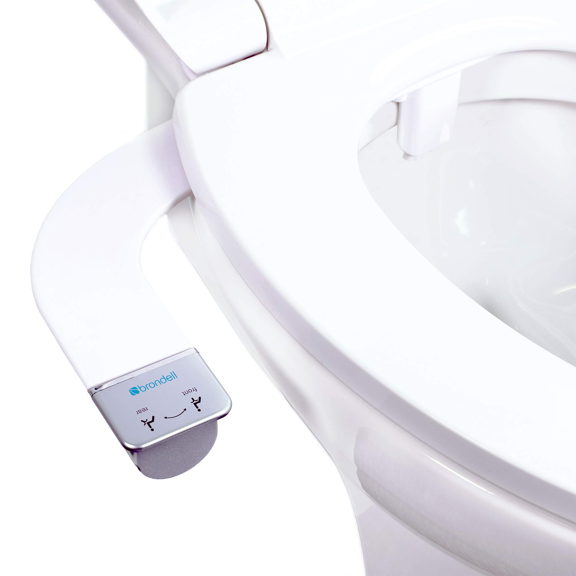 Brondell Bidet – Thinline Dual Nozzle SimpleSpa SS-250 Fresh Water Spray Non-Electric Bidet Toilet Attachment in White with SafeCore Internal Valve and Nozzle Guard