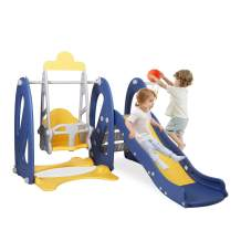 BAHOM 3 in 1 Climber Slides Playset for Boys Girls Indoor and Outdoor Play, Kids Climber with Slide and Swing for Toddlers (Dark Blue)
