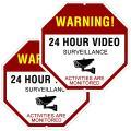 """ATBAY Video Surveillance Sign Aluminum Waterproof Indoor Outdoor 24 Hours Security Alert Signs 12""""x12"""" Octagon,(Pack of 2)"""