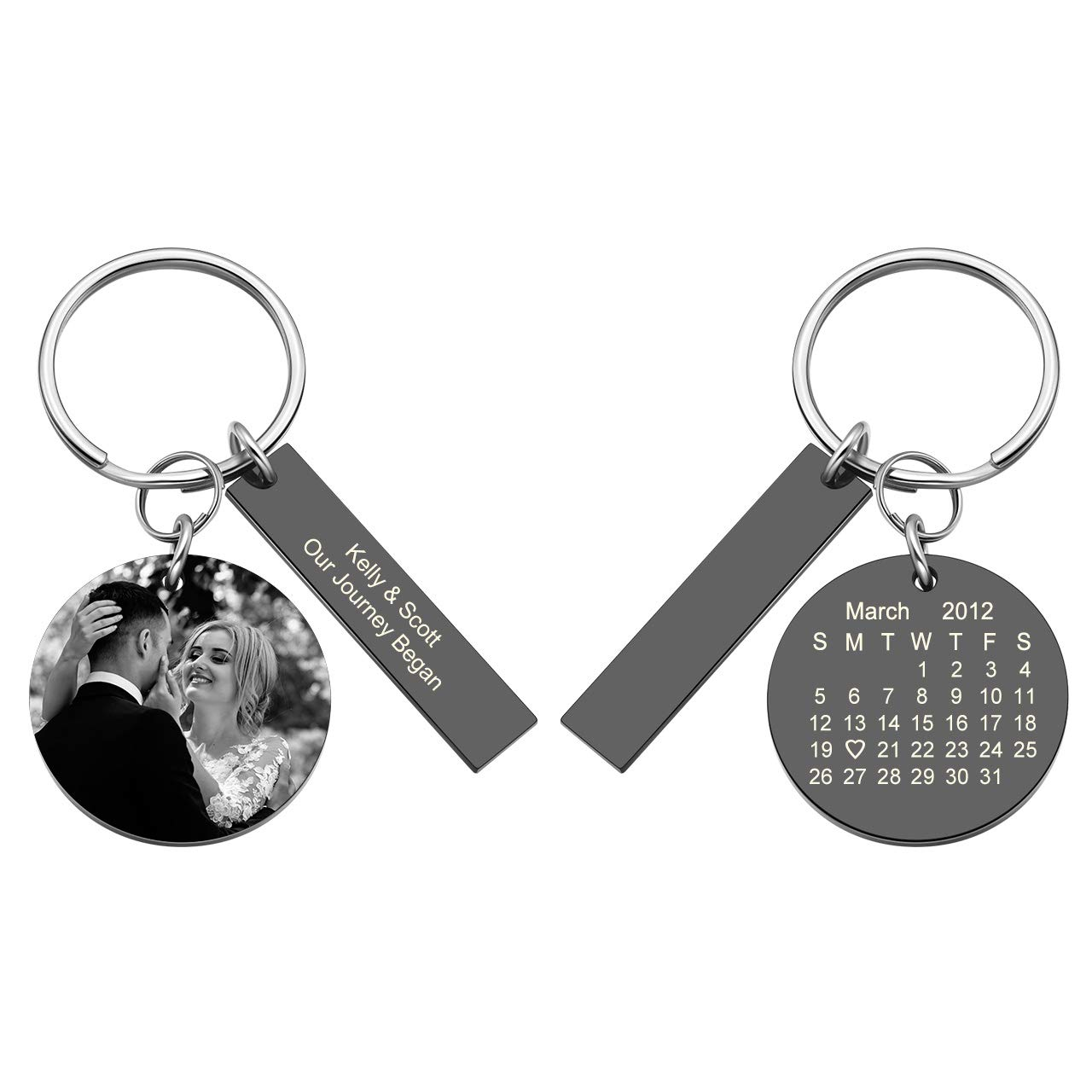 PiercingJ Personalized Custom Photo Calendar Text Date Keychain Stainless Steel Round Tag Pendant Picture Engraved Key Ring Lovers Couples Valentine's Anniversary Birthday Special Day Gift