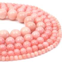 "Oameusa 6mm Natural Pink Chalcedony Agate Beads Smooth Round Beads Gemstone Beads Loose Beads Agate Beads for Jewelry Making 15"" 1 Strand per Bag-Wholesale"