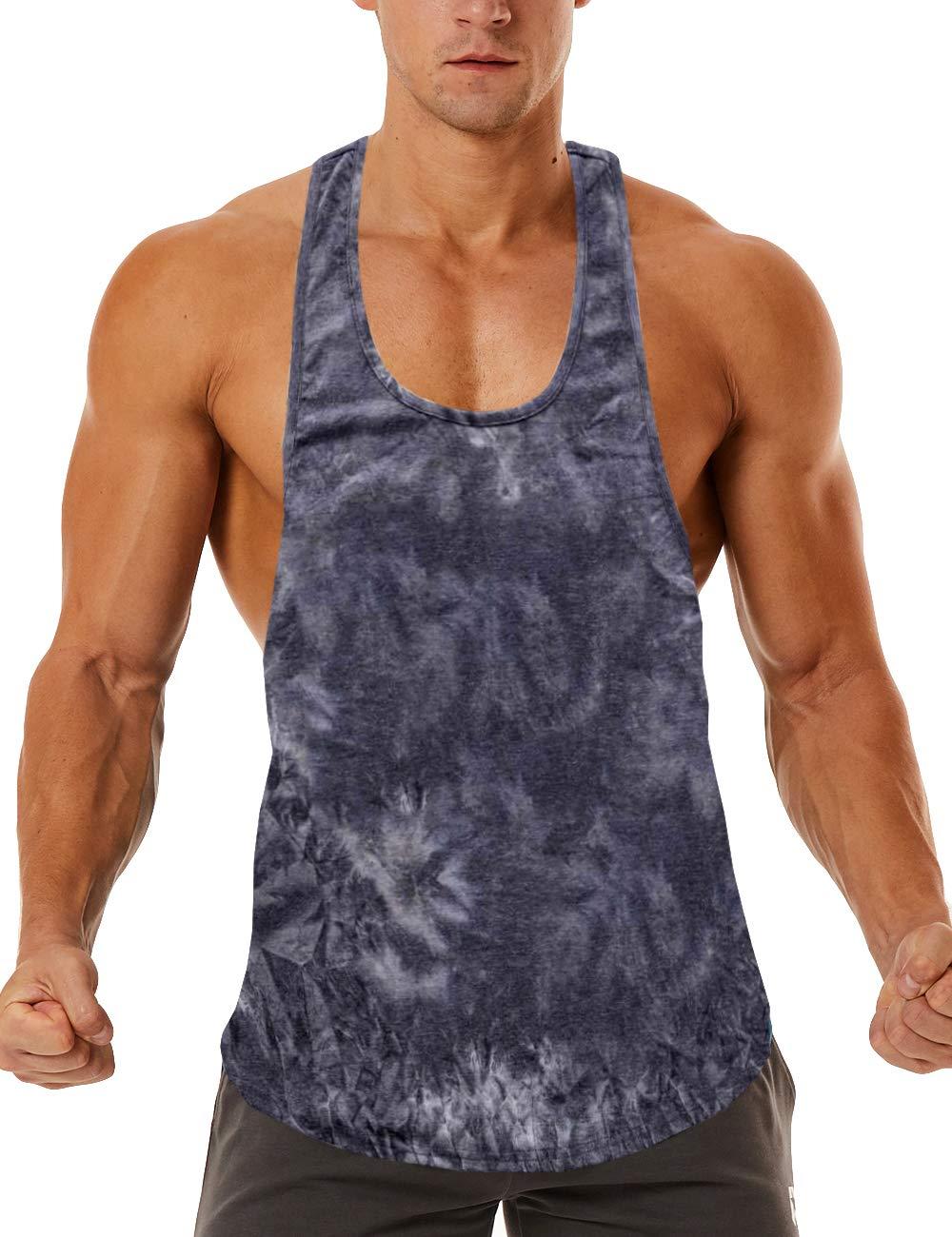 ROWILUX Men's Workout Tie Dye Tank Tops Quick Dry Soft Gym Bodybuilding Stringer Sleeveless Shirt