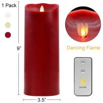 """AGLARY Moving Flame Candles with Timer,Large 9"""" Real Wax Pillar LED Candle,Battery Operated and Remote Control"""
