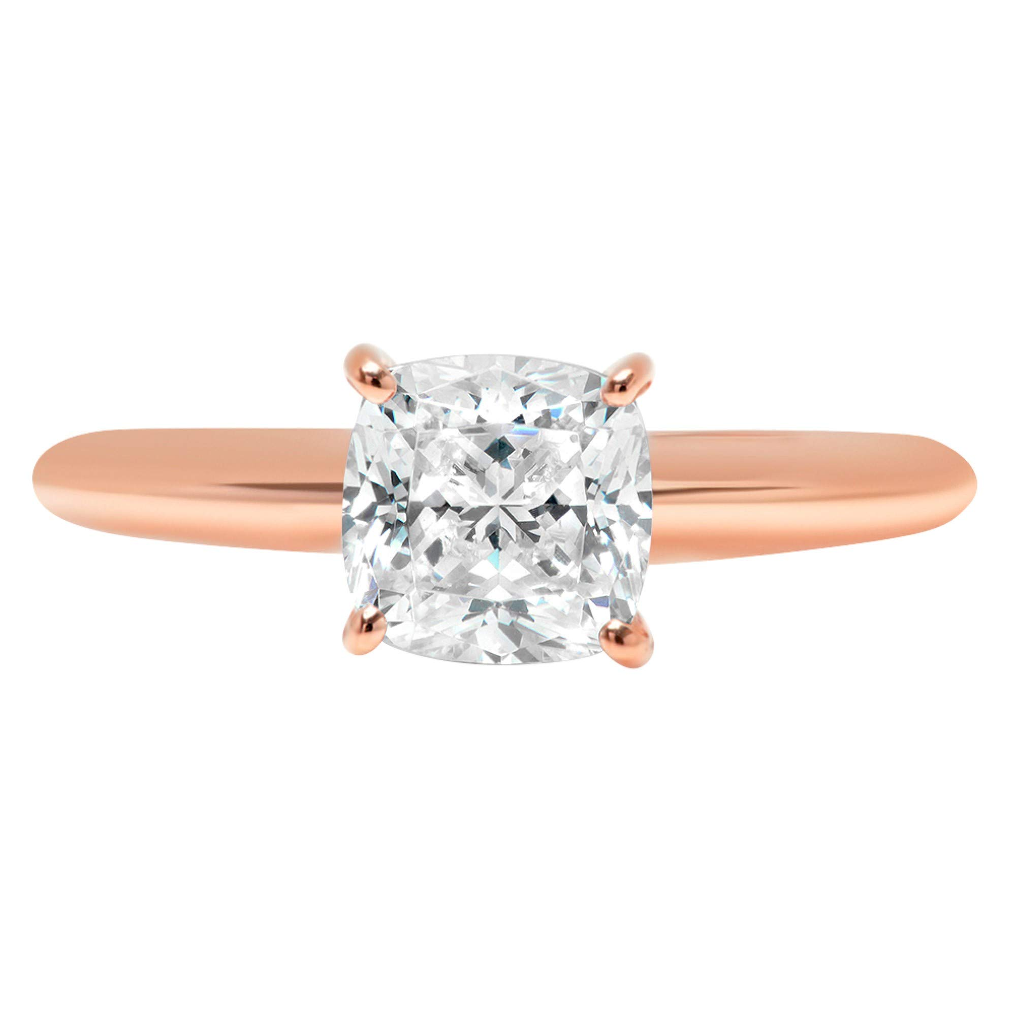 1.4ct Brilliant Cushion Cut Solitaire Highest Quality Lab Created White Sapphire Ideal VVS1 D 4-Prong Engagement Wedding Bridal Promise Anniversary Ring Solid Real 14k Rose Gold for Women