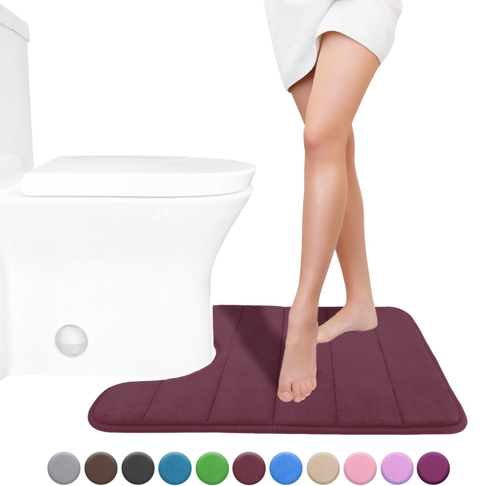 Yimobra Memory Foam Toilet Bath Mat U-Shaped, Soft and Comfortable, Water Absorption, Non-Slip, Thick, Machine Wash and Easier to Dry for Bathroom Commode Contour Rug, 24 X 20 Inches, Potent Purple