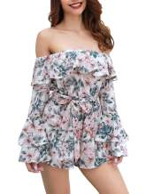 Ophestin Womens Floral Printed Rompers - Sexy Off Shoulder High-Waisted Summer Playsuits