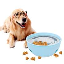 YoTelim 2 in 1 Slow Feeder Dog Bowls, Tumbler Leaking Food Bowls Interactive Dog Toys Cat Food Bowls Fun Feeder No Choking IQ Training Ball Toys Puzzle Toys for All Kind of Dog & Cat