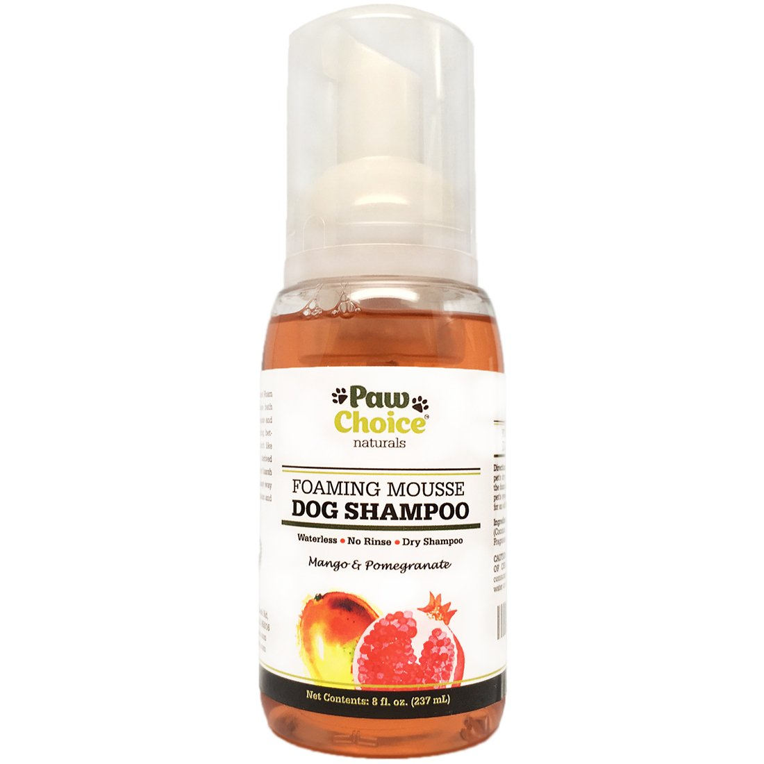 Paw Choice Dry Dog Shampoo, Waterless, No Rinse Foam Mousse - for Bathless Cleaning of Coat and Removing Pet Odor - Mango and Pomegranate Scent, Natural with No Harsh Detergents, Made in USA