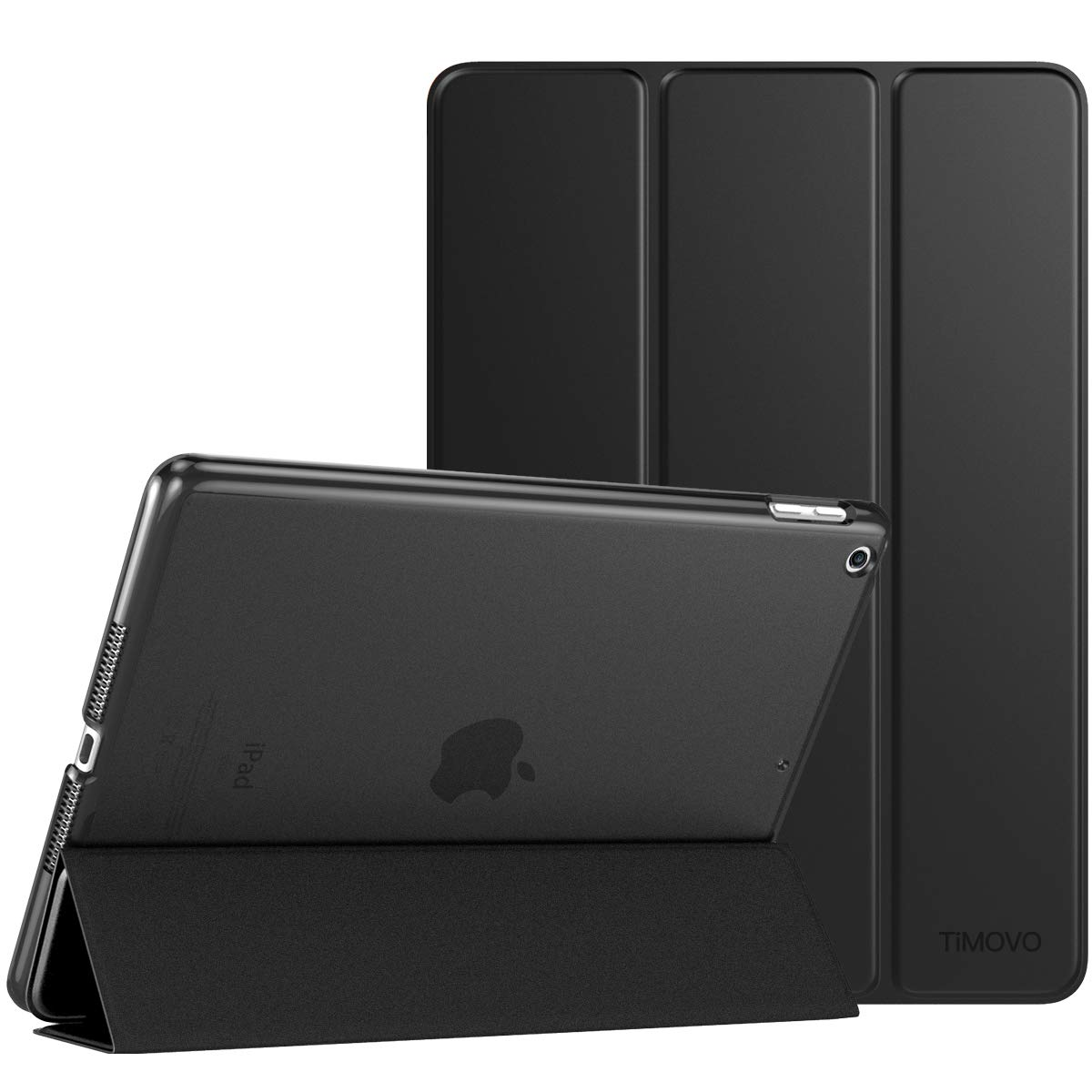TiMOVO Cover Compatible for iPad 9.7 Case, 2018/2017 iPad Case(6th/5th Generation), Slim Lightweight Smart Case with Auto Sleep/Wake, Translucent Frosted Back Cover for iPad 9.7 2018/2017 - Black