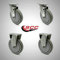 """Stainless Steel Polyurethane Swivel Top Plate Caster Set of 4 w/6"""" x 1.26"""" Gray Wheels - Includes 2 Swivel & 2 Rigid - 1200 lbs Total Capacity - Service Caster Brand"""