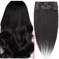 """Clip-in Hair Extensions Clip In Hair Extensions Human Hair Real Human Hair Extensions Clips Full Head Clip on Hair Extensions Long Straight Standard Weft For Women 8 Pieces 16"""" 65g #01 Dark Black"""