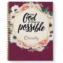"""All Things Are Possible Personalized Religious Notebook/Journal, Laminated Soft Cover, 120 Checklist pages, lay flat wire-o spiral. Size: 8.5"""" x 11"""". Made in the USA"""
