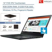 "Lenovo ThinkPad T470 14"" FHD Touchscreen Business Laptop Computer, Intel Core i5-6200U Up to 2.8GHz, 8GB DDR4 RAM, 512GB PCIE SSD, 802.11ac WiFi, Windows 10 Pro, YZAKKA External DVD + Accessories"