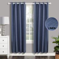 csoft Linen Blackout Curtain Thermal Insulated Energy Linen Texured Window Curtains(Valance) with Grommets top Darkening Drapes for Bedroom Living Room(Blue, 52W X 63L Inch 1 Panel),