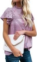 Locryz Women Cute Lace Blouse Top Short Sleeve Lace Hollow Out Turtle Neck T Shirt