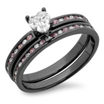 Dazzlingrock Collection 1.80 CT Black Rhodium Plated Silver Heart Cut White & Round Pink Sapphire CZ Bridal Engagement Ring Set