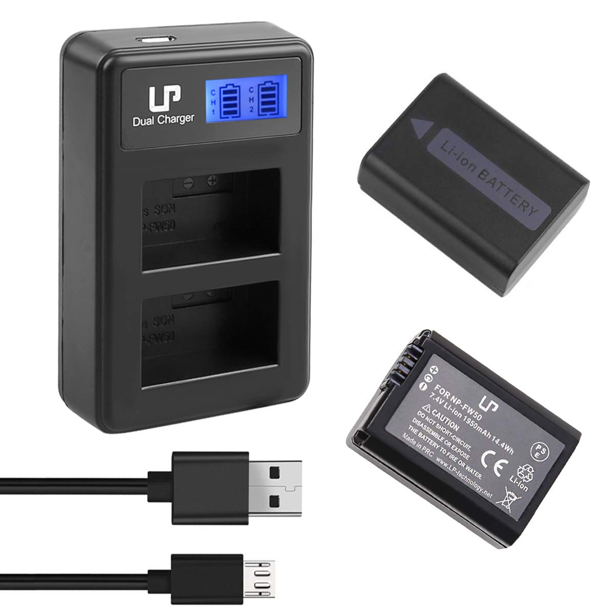 LP NP-FW50 Battery Charger Pack, 2-Pack Battery & LCD Dual Charger, Compatible with Sony Alpha A6000, A6400, A6100, A6300, A6500, A5100, A7, A7 II, A7R, A7R II, A7R2, A7S, A7S II, A7S2, RX10 & More