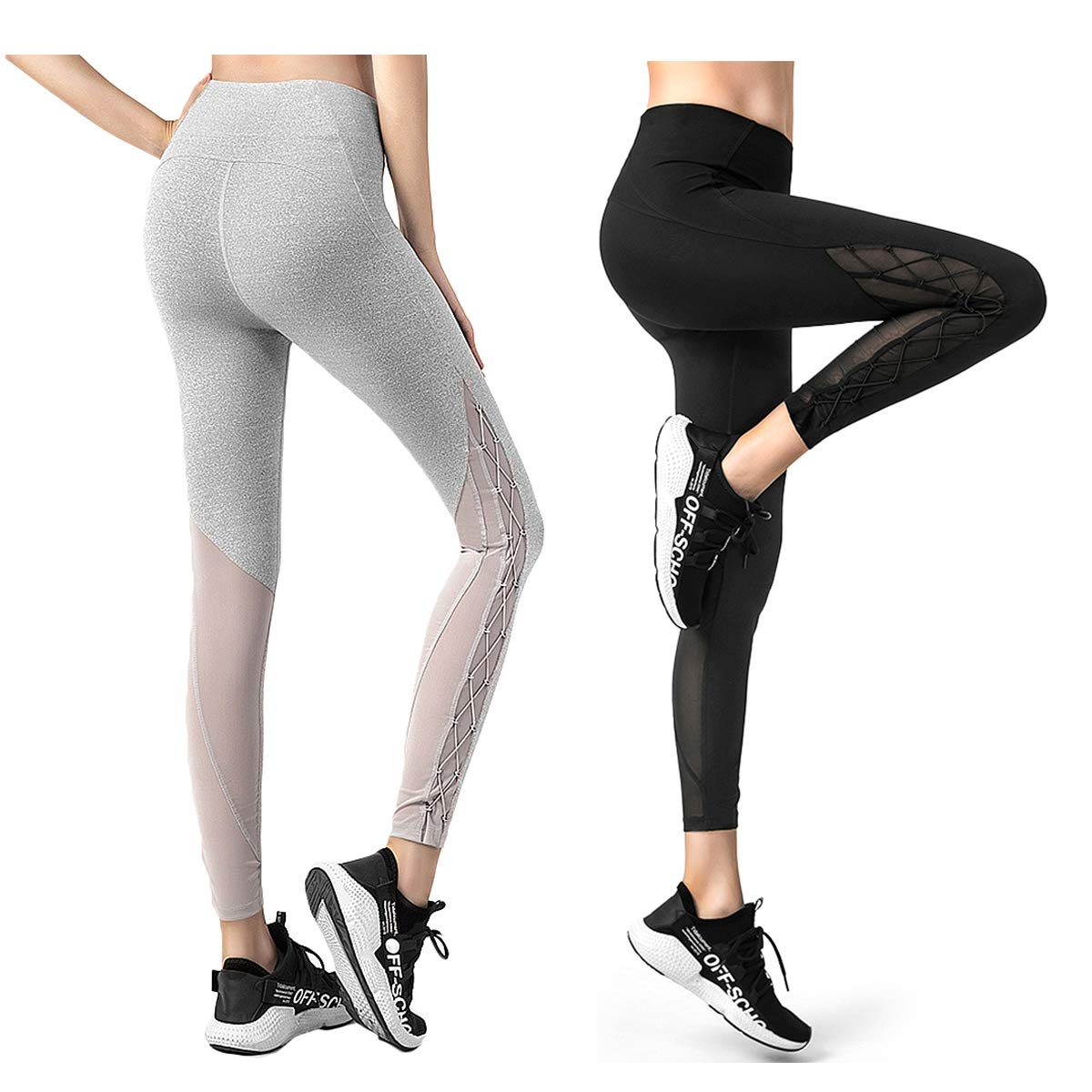 KSUA Womens Mesh Yoga Pants High Waist Workout Running Leggings Capris Gym Tights Sport Leggings