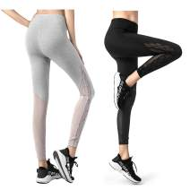 KSUA Womens Mesh Yoga Pants High Waist Workout Running Leggings Capris Gym Tights Sport Leggings