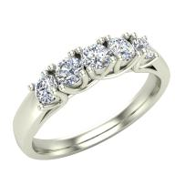 Wedding band 14K Gold Five Stone Diamond Wedding Ring Trellis Setting 0.50 carat tw (G, SI)