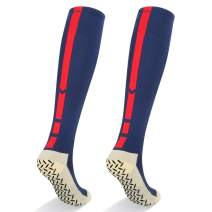 YUEDGE 2 Pack Men's Non-slip Deodorant Cushion Cotton Knee High Long Team Sports Football Soccer Socks