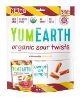 YumEarth Organic Sour Twists, Watermelon Lemonade, 5 Snack Packs Per Bag, 12 pack