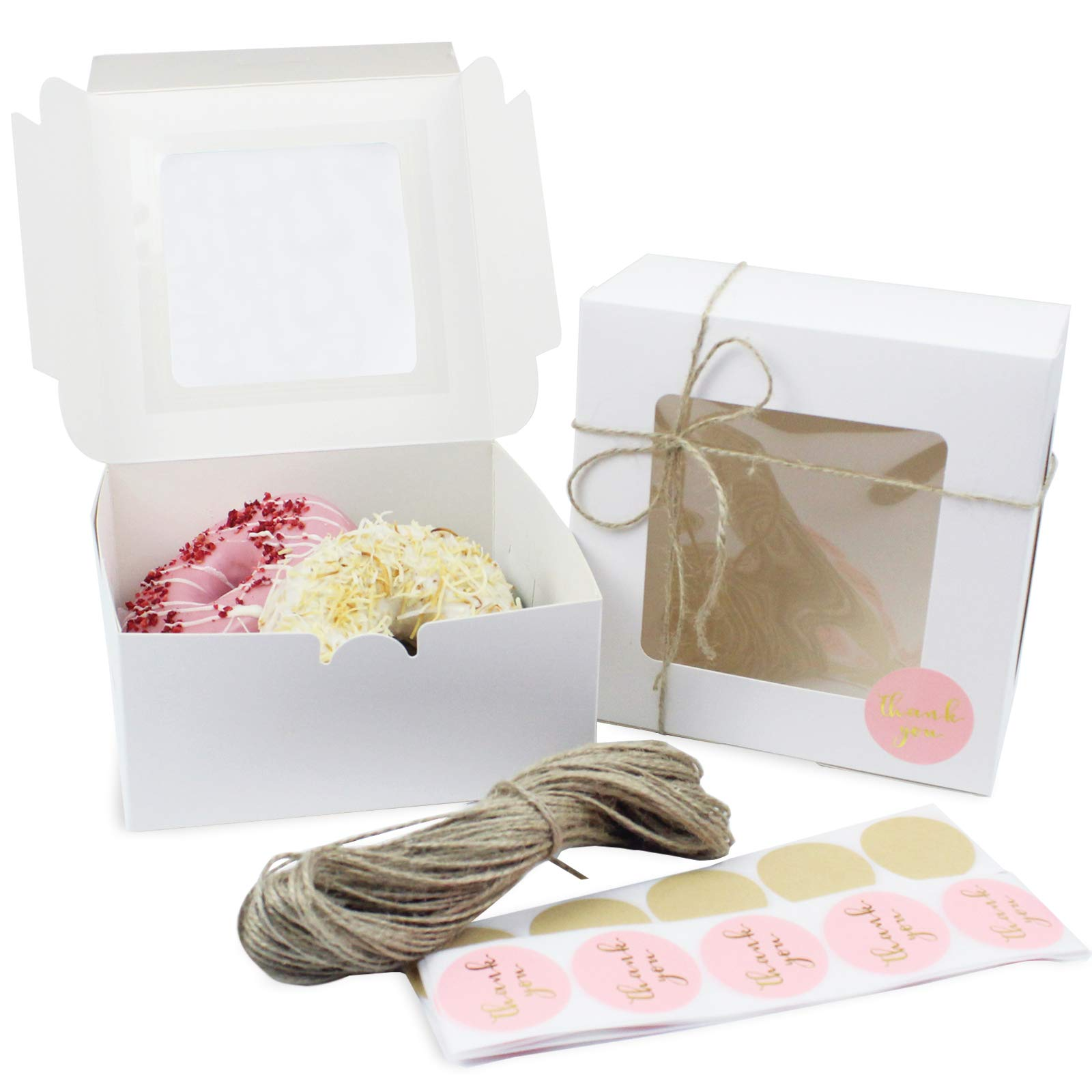 White Bakery Boxes with Window (25 Pack, 6.3x6.3x3 in), Eco-Friendly Paperboard Treat Boxes with 30M Jute Twine and 50pcs Stickers, Extra Thick Pastry Boxes for Muffins, Donuts, Cookies, Pie, Cupcakes