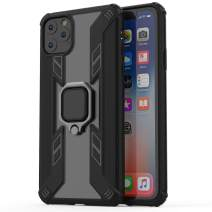 "Kit Me Out World Ring Series Case Designed for iPhone 11 Pro Max Case 6.5"", Scratch-Proof Transparent Hard (PC) Back and Black TPU Bumper with 360 Ring Kickstand, Shockproof Case Cover (Ultra Clear)"