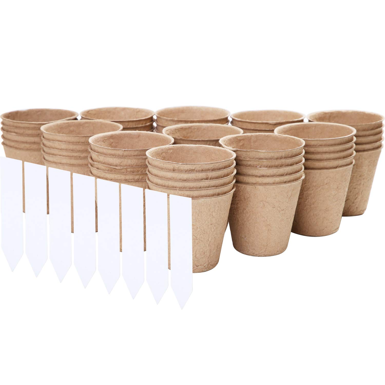URATOT 100 Pieces Peat Pots Seed Starter Eco-Friendly Enhance Aeration with Plant Tags for Home Plant Starters