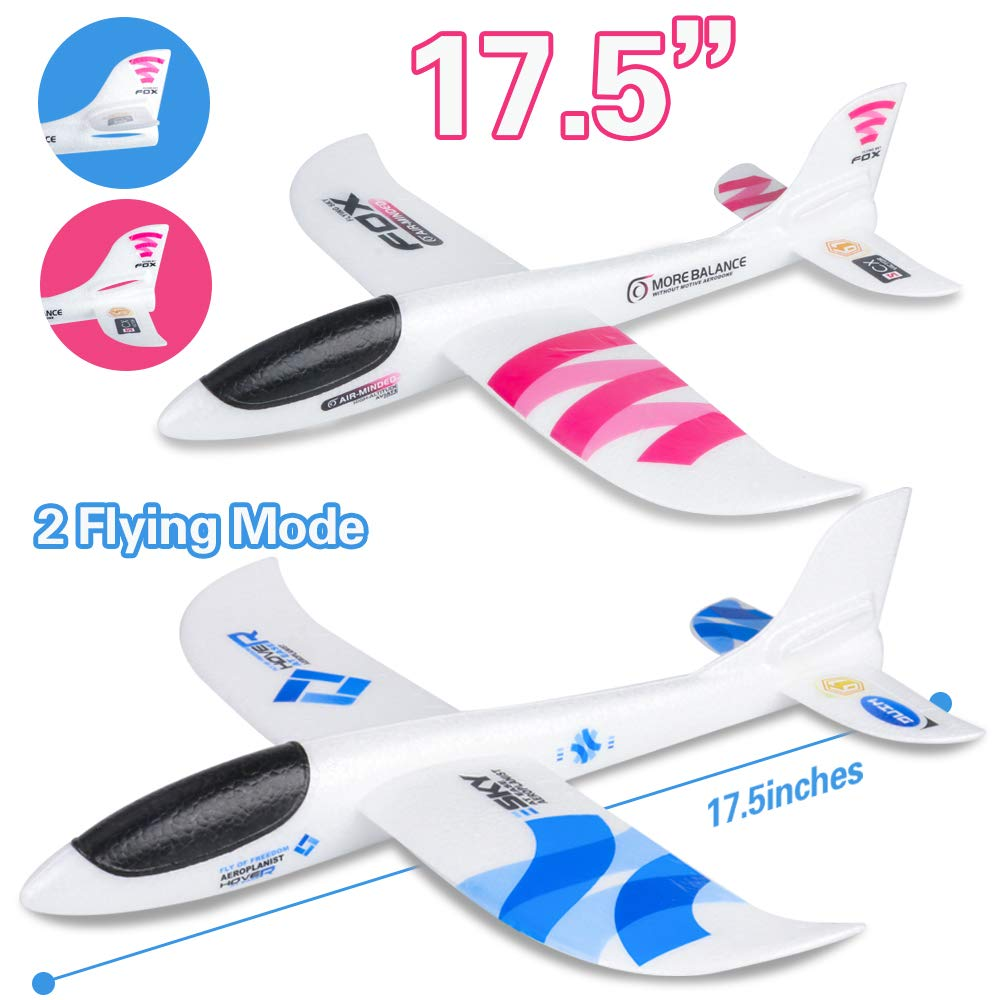 """BooTaa 2 Pack Airplane Toys, 17.5"""" Large Throwing Plane, Outdoor Sport Toy, Foam Glider Aeroplane for 3 4 5 6 7 8 Year Old boy Toddlers, Kids Flying Game Toy, Styrofoam Airplanes, Gift for Kids"""