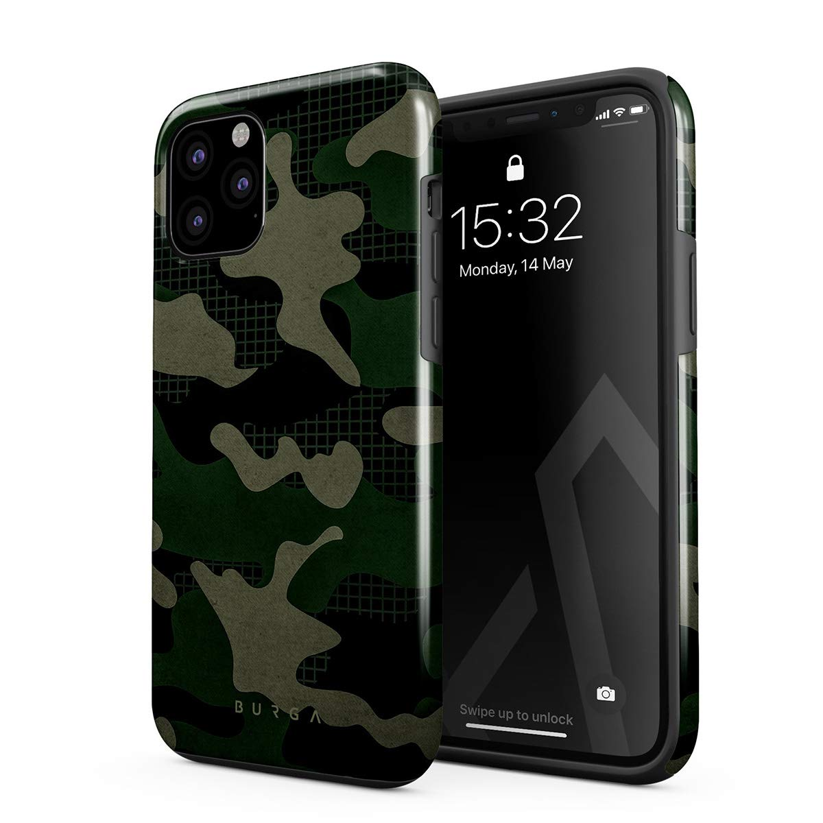 BURGA Phone Case Compatible with iPhone 11 PRO - Jungle Military Green Camo Camouflage Cute Case for Girls Heavy Duty Shockproof Dual Layer Hard Shell + Silicone Protective Cover