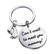 bobauna Daddy to Be Keychain Can't Wait to Meet You Daddy Baby Birth Pregnancy Announcement Gift for New Dad